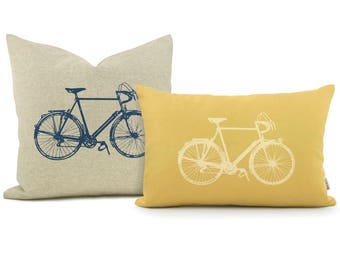 Vintage Bicycle Print Personalized Pillow Case | Industrial Bike Decorative Pillow Cover | Your Color, Fabric and 16x16 or 12x18 Lumbar Size