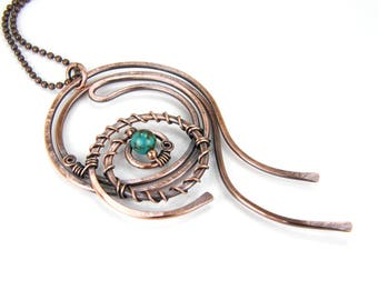 Copper and Turquoise Pendant Necklace, Antiqued Patina Hammered Copper Wire Wrapped Hand Made Necklace