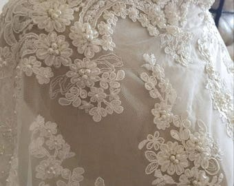 Ivory Alencon Lace Fabric Floral Sequined Pearl Beaded Wedding Lace Fabric Dress Coat Fabric 19.6 Inches Wide 1 Yard