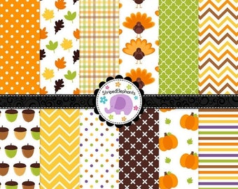 40% OFF SALE Thanksgiving Digital Papers, Thanksgiving digital background, digital scrapbook paper, Instant Download, Commercial Use