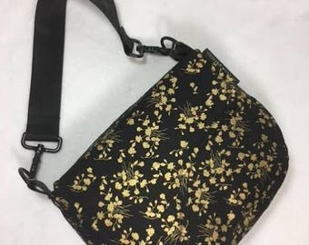 Saddle Bag, Shoulder Purse, Black and Gold Shoulder Bag, Equestrian Bag, Black and Gold,  Black and Gold, Mothers Day,  RTS