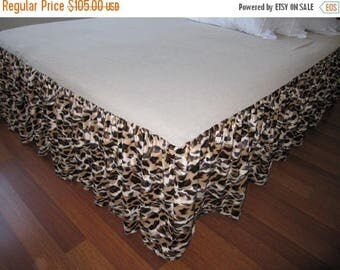 clearance sale Velvet Brown Leopard Queen Dust ruffle / Bed skirt valance bedskirt - bed cover linen velvet skirted coverlet - velvet beddin