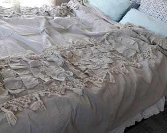 Tassel bedding - handmade crochet lace trim Ruffled Bedding- Queen King duvet cover -bed linen- shabby chic French country home Nurdanceyiz