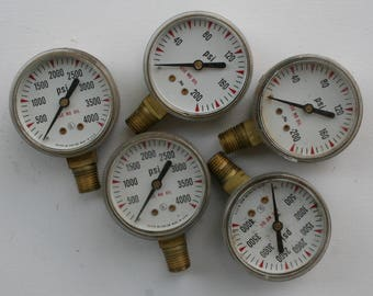 Industrial Gauges-5 Vintage Steampunk -Sculpture Supplies-Perfect for all your Assemblage and robot fixin' needs, Recycled,Upcycled,Reuse