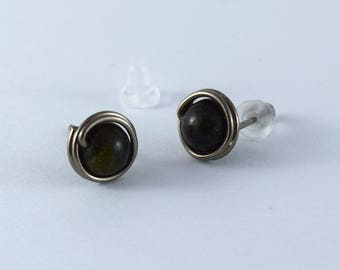 9mm handmade Niobium stud earrings - Dark green Russian Serpentine stone earrings - Healing stone- Unisex studs -Free ship to CANADA and USA