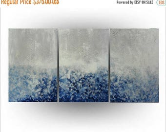 ON SALE Modern Abstract Triptych painting Acrylic Palette knife Blue and White Minimalist  - Chicago Blues - 24 x 54 - Skye Taylor