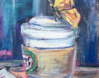Starbucks Coffee Cup and butterfly Painting Original Art 7 x 5""