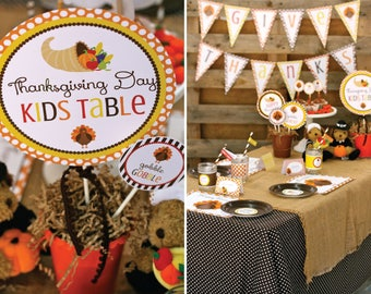 Thanksgiving kids table, Thanksgiving printables, Thanksgiving decorations, Thanksgiving tablescape, Thanksgiving Party