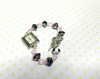 Pink Crystal watch/Bracelet silver tone, flower clasp, vintage inspired, item no D115