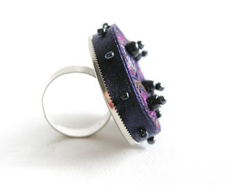 Statement ring purple beaded, adjustable textile ring, fabric ring, fiber ring navy, gift for woman, gift for her - Textile  jewelry