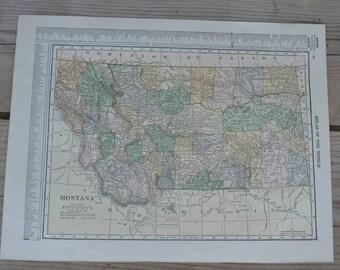 Montana State Map Print Vintage