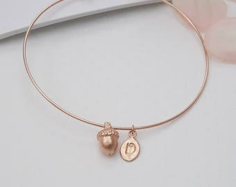 Rose Gold Bangle Bracelet Personalized / Acorn Bracelet with Initial / New Mom Bracelet / Mother and Child Monogram Jewelry Rose Gold Silver