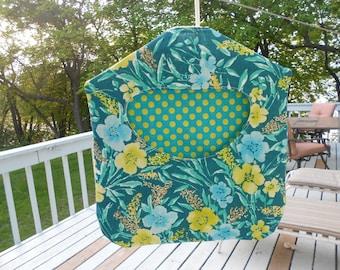 Vintage Teal Floral Linen Clothespin Holder - Teal and Green Clothes Pin Holder - Retro Clothes Pin Bag - Ready to Ship