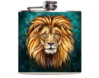 Personalized Lion Flask, 21st Birthday for Him, Drinking Gifts for Dad, Groomsmen Gift, Mens Custom 6oz Hip Flask
