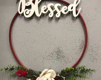 Modern wreath, Christmas Wreath, Welcome Wreath,Holiday Wreath,Embroidery hoop wreath,minimalist wreath,front door wreath, cardinal wreath