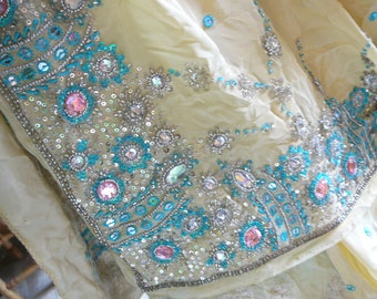 pure silk embroidered gem studded sequinned sari turquoise soft yellow fabric yardage