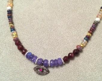 SUMMER Sale Diamond Opal moonstone garnet sterling silver necklace OOAK