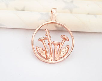 1 of 925 Sterling Silver Rose Gold Vermeil Style Wild Flower Pendant 15 mm .  :pg0525