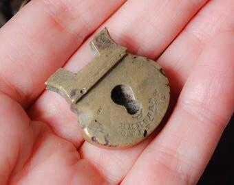 Antique brass part of old padlock, broken, connector, finding, dark patina