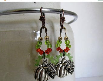 SALE Industrial Pumpkin  Dangle Earrings, orange and green Chandelier Earrings, Gift For Mom, Steampunk