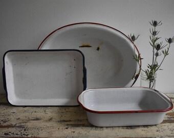Vintage White Enamel Pans Casserole Dishes Planters