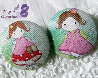 2 buttons doll cloth design, 0.94 in / 24 mm diameter