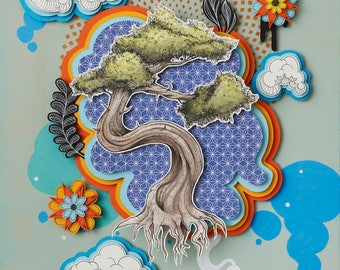 Bonsai #2, WOOD PANEL PRINT, tree, japanese, pop surrealism, surrealism, paper cut art, paper cutting, asheville artist, colorful, paper