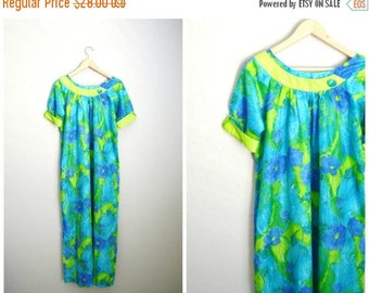 Summer SALE - 20% off - Vintage 50s 60s Paradise Hawaii MuuMuu Dress Lounge Luau Tiki Bathing Suit Cover Up Dress // medium