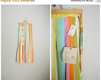 Summer SALE - 20% off - Vintage 50s 60s Pastel Colorful Circus Maxi Skirt // womens xxsmall/ size 000 --22inch waist- NEW Old stock