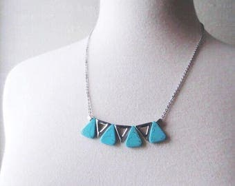 Rayleigh - Turquoise Triangle Necklace; Blue Boho Geometric Pendant Statement Bib Layer (Collier Triangle / Dreieckhalskette) by InfinEight