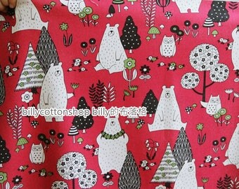 m322_55 - bear and owl fabrics  - cotton linen - Half Yard (  3 colors )
