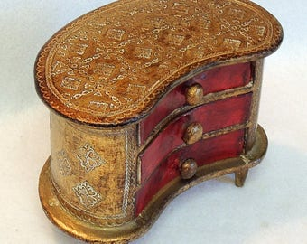 Vintage Antique 1950s Florentine Jewelry Box Italy.. 3 Drawer Miniature Chest Gilt Gold