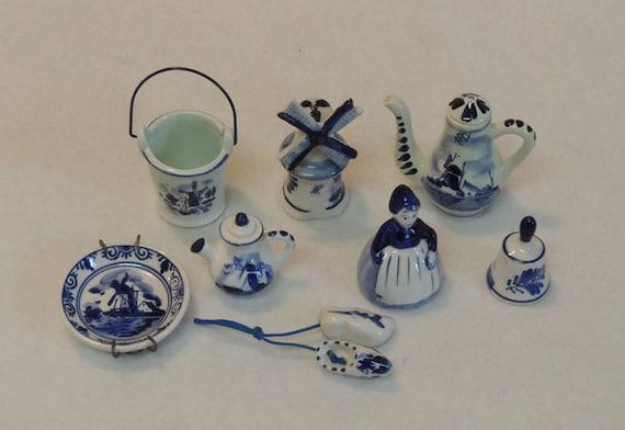 Delft Blue Miniature 9 Pc. Lot.. Plate, Bell, Coffee Pot, Pail, Windmill & More