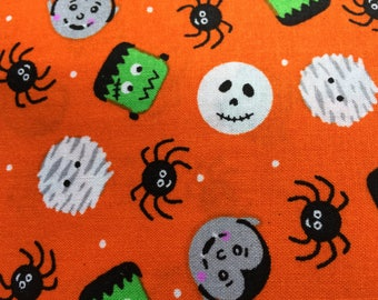 HALLOWEEN Fabric Small Monsters Spiders Mummy Dracula Fun Fabric One Yard Two and One Third Yards Available Orange Halloween Fabric