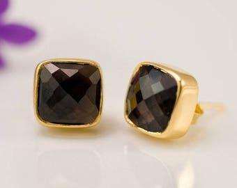 40 OFF - Smokey Quartz Stud Earrings - Gemstone Studs - Cushion Cut Studs - Gold Stud Earrings - Post Earrings