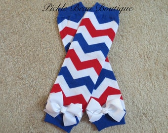 4th of July Leg Warmers with Ribbon Bows, Fourth of July Legwarmers, Toddler Kids Leggings, Red White Blue Chevron