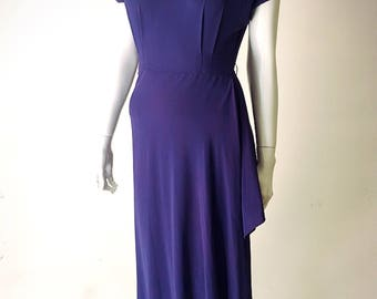1940s Periwinkle Evening Dress