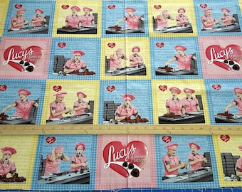 I love Lucy Chocolate Factory 24x44 premium cotton fabric panel by Quilting Treasures - OOP HTF