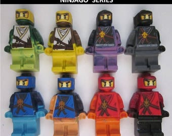 Crayon Lego sized Ninja Ninjago Party Favors - Crayons Mini figures - set of 8 Children's Gift
