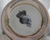 Gold Skull Dish, Durable & Foodsafe Skull Plate, Halloween China, Goth Tableware, Skeleton Wedding Plates, CUSTOMIZABLE w. Any Image