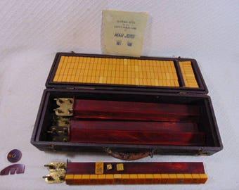 Antique Chinese Bakelite Mahjong Set w/ 157 Tiles & Rack