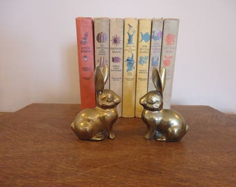 Vintage Pair Brass Long Eared Rabbit  Figurines, brass ducks
