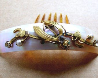 Victorian hinged hair comb mother of pearl gilded leaves hair accessory decorative comb headpiece headdress hair ornament