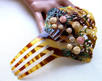 Art Deco hair comb with applied flowers Spanish style hair accessory headdress headpiece decorative comb hair ornament