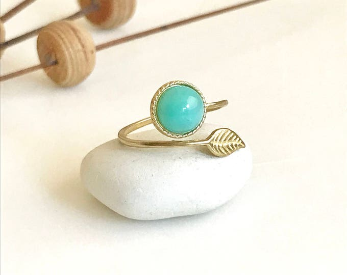 Gold Leaf Ring with Turquoise or Opal Stone. Adjustable Gold Ring. Leaf Ring. Simple Ring. Jewelry.