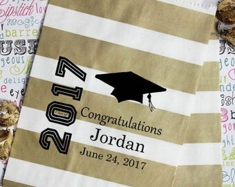 GLAMSALE 50 Personalized Graduation Party Favor Bags, Candy Bags, Popcorn Bags, Cookie Bags, Graduation Favor Bags with Name and Date