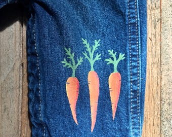 One of a kind baby overalls with matching bodysuit, carrot themed 6 months