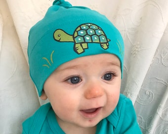 Turtle on teal, Hat Organic Baby beanie or Hat, Eco Friendly Baby Hat, Baby Beanie, Cute BabyGift, Fun baby present 0-1 years