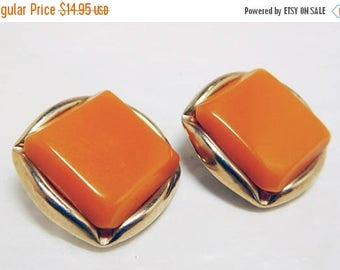 SALE Caramel Orange Earrings Vintage Moonglow Lucite on Gold 50s style