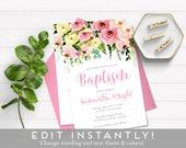 Floral Baptism Invitation for Girls, Christening Invitation for Girls, Baptism Invitation Girls, Girl Christening Invitation